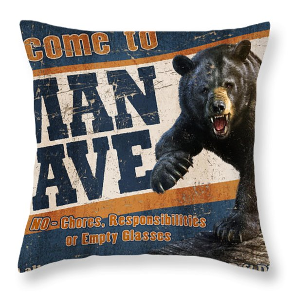 Man Cave Balck Bear Throw Pillow by JQ Licensing