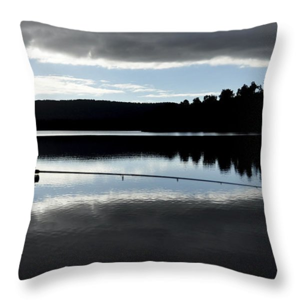 man fly fishing Throw Pillow by Judith Katz