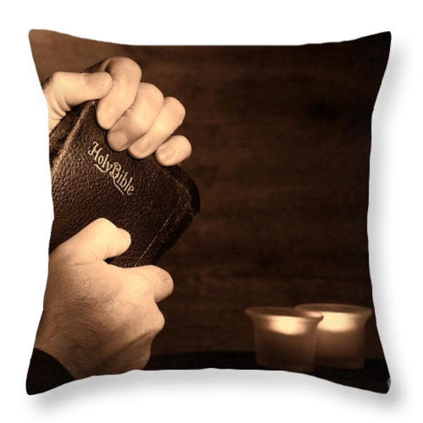 Man Hands and Bible Throw Pillow by Olivier Le Queinec