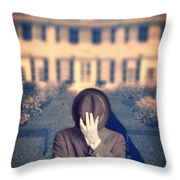 Man In Front Of Mansion  Throw Pillow by Edward Fielding
