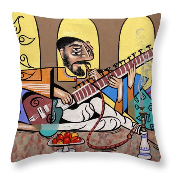 Man Playing A Sitar Throw Pillow by Anthony Falbo