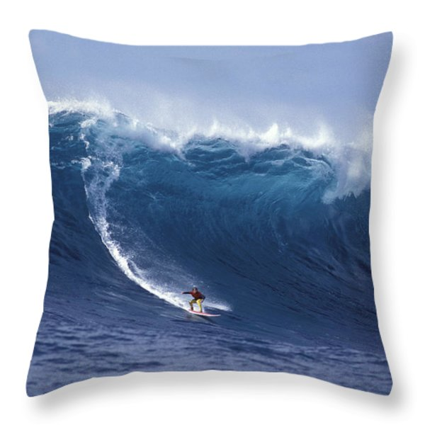 Man Vs Mountain Throw Pillow by Sean Davey