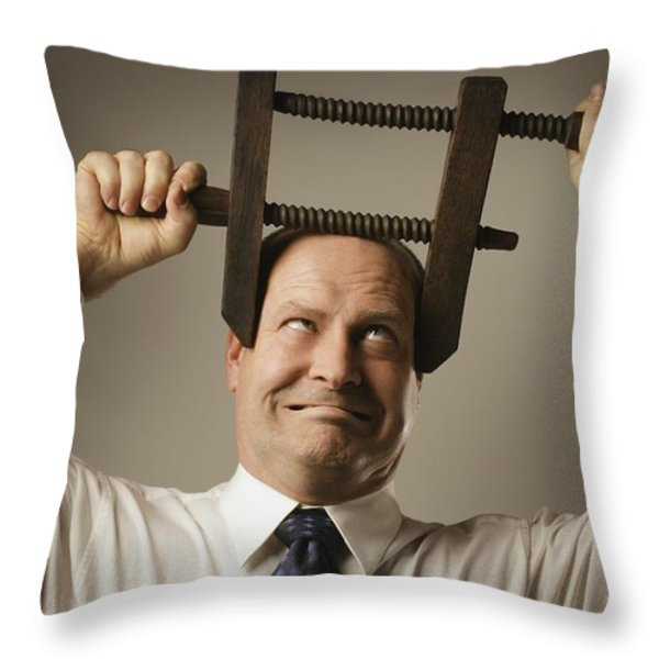 Man With Head In Vice Throw Pillow by Don Hammond