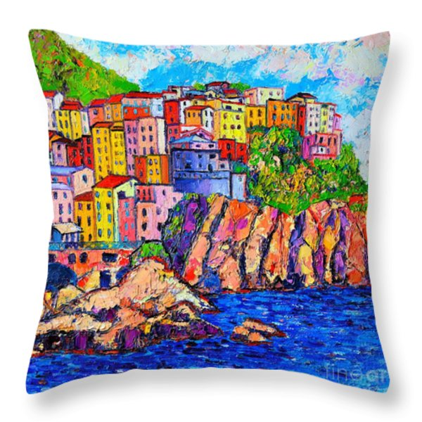Manarola Cinque Terre Italy Detail Throw Pillow by Ana Maria Edulescu