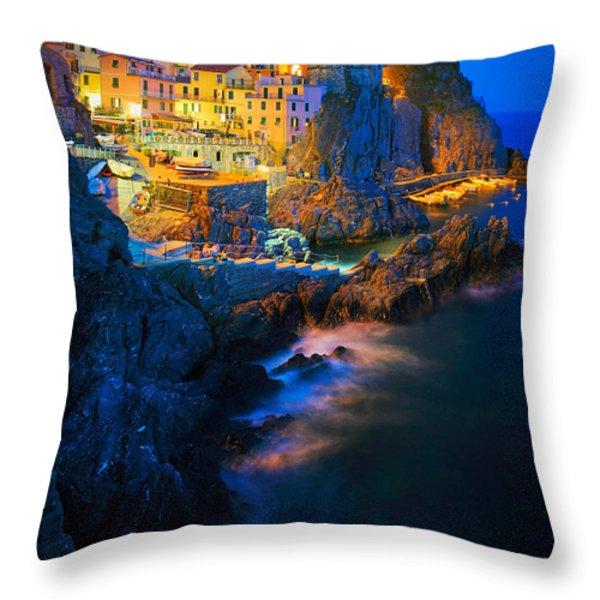 Manarola Lights Throw Pillow by Inge Johnsson