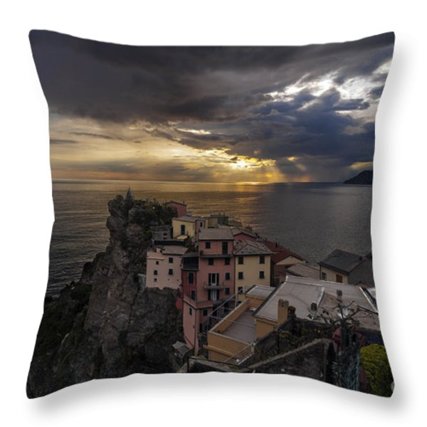 Manarola Sunset Storm Throw Pillow by Mike Reid