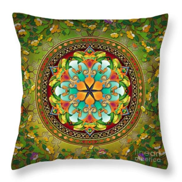 Mandala Evergreen Throw Pillow by Bedros Awak