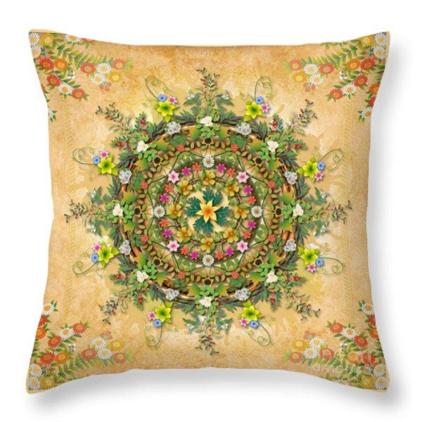Mandala Flora Throw Pillow by Bedros Awak