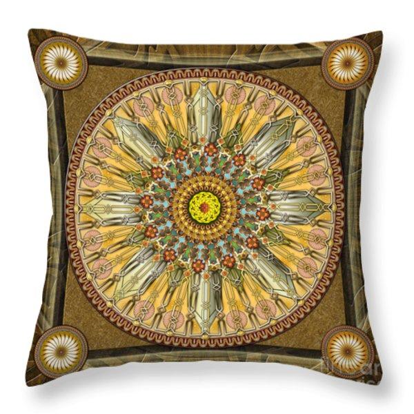 Mandala Illumination V1 Throw Pillow by Bedros Awak