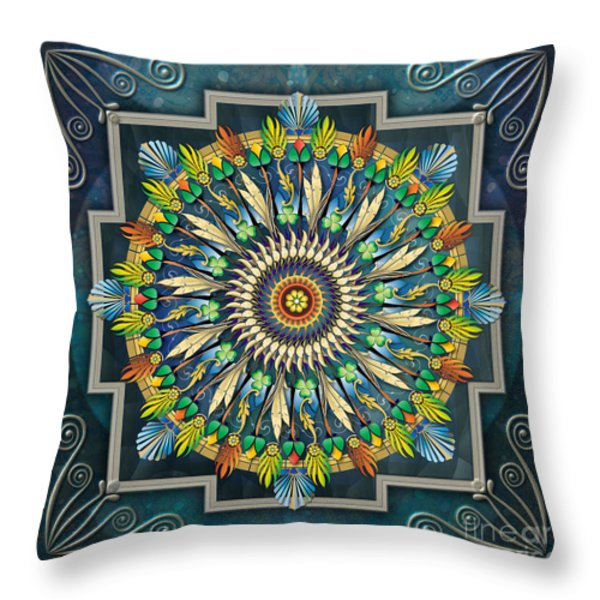 Mandala Night Wish Throw Pillow by Bedros Awak