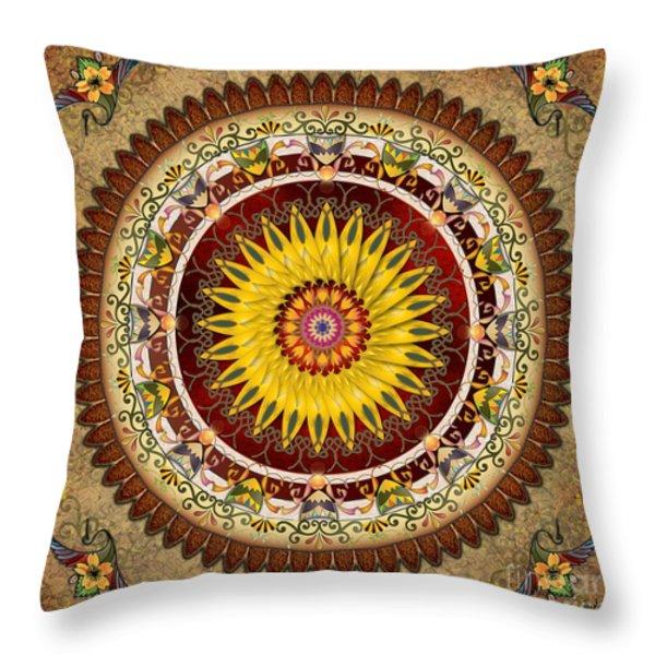 Mandala Sunflower Throw Pillow by Bedros Awak