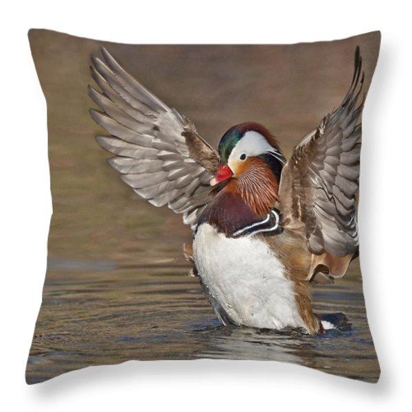 Mandarin Duck Flapping Away Throw Pillow by Susan Candelario