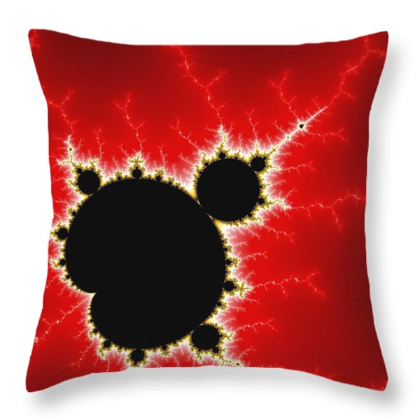 Mandelbrot Fractal Art Black White And Bold Red Throw Pillow by Matthias Hauser