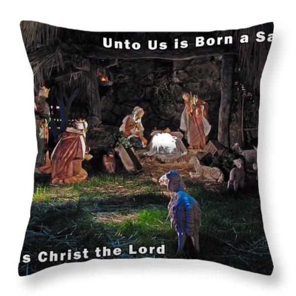 Manger Christmas Card Throw Pillow by John Haldane
