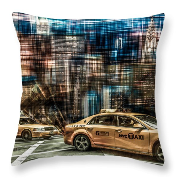 Manhattan - Yellow Cabs - Future Throw Pillow by Hannes Cmarits