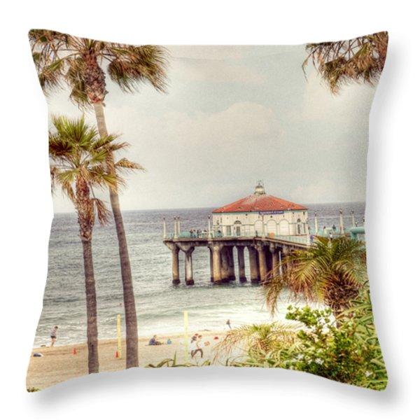Manhattan Beach Pier Throw Pillow by Juli Scalzi