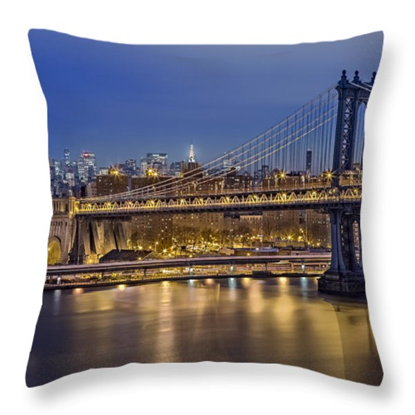 Manhattan Bridge Throw Pillow by Eduard Moldoveanu