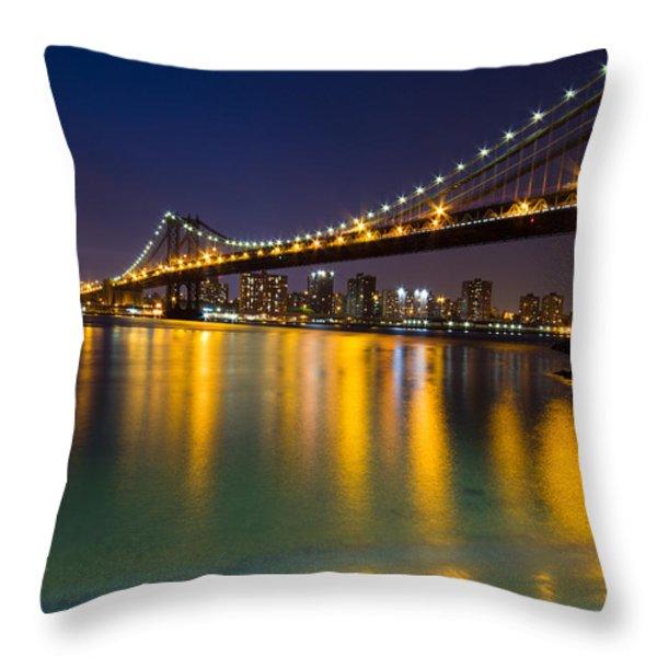 Manhattan Bridge Throw Pillow by Mircea Costina Photography
