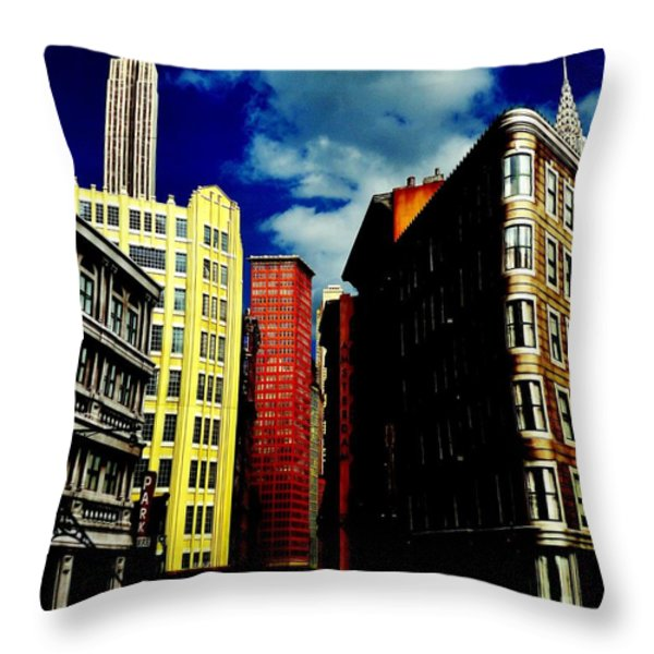 Manhattan Highlights Throw Pillow by Benjamin Yeager