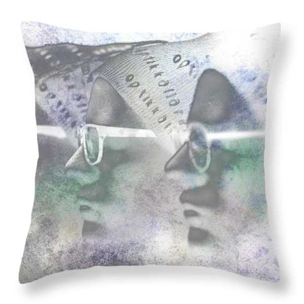 Mannequin With Glasses In Digital Art Throw Pillow by Toppart Sweden