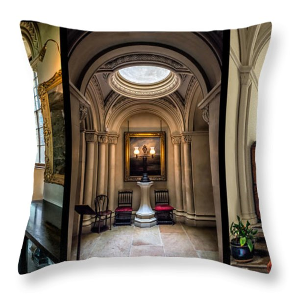 Mansion Hallway Triptych Throw Pillow by Adrian Evans
