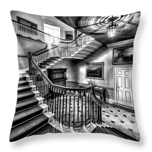 Mansion Stairway V2 Throw Pillow by Adrian Evans