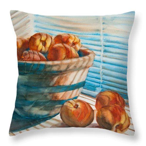 Many Blind Peaches Throw Pillow by Jani Freimann