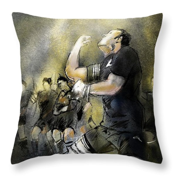 Maori Haka Throw Pillow by Miki De Goodaboom