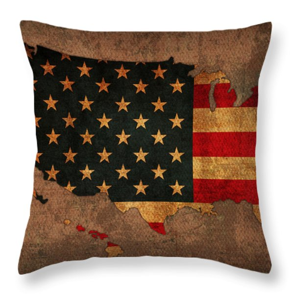 Map Of America United States Usa With Flag Art On Distressed Worn Canvas Throw Pillow by Design Turnpike