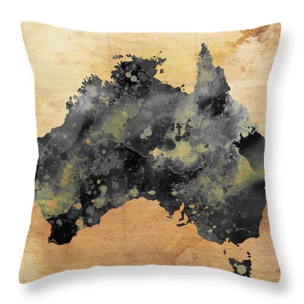 Map Of Australia Grunge Throw Pillow by Daniel Hagerman
