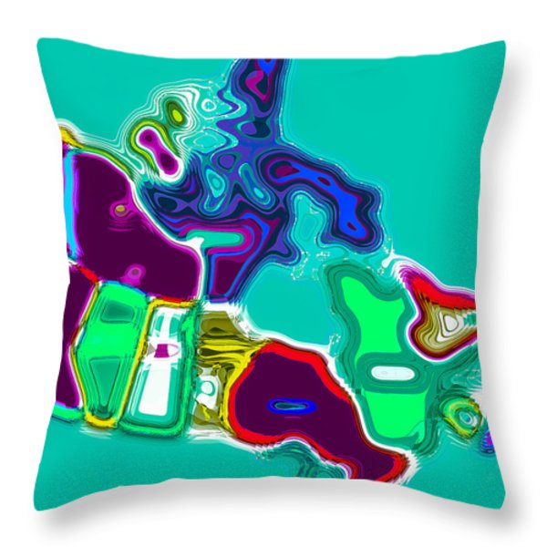 Map Of Canada Digital Painting Throw Pillow by Eti Reid