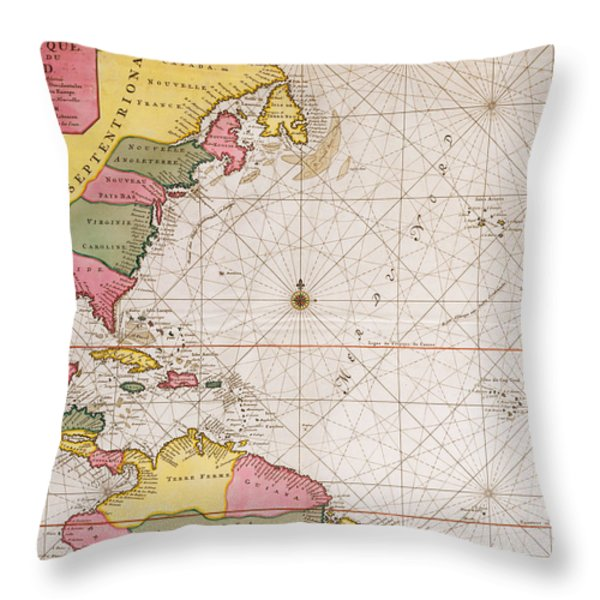 Map Of The Atlantic Ocean Showing The East Coast Of North America The Caribbean And Central America Throw Pillow by French School