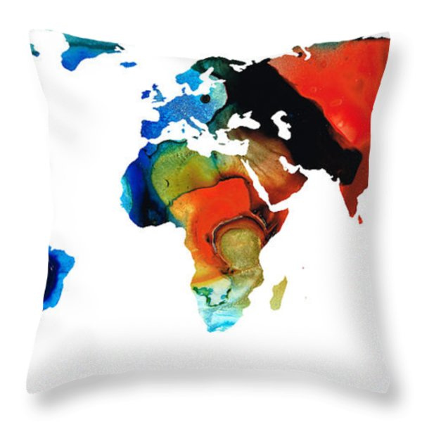 Map of The World 3 -Colorful Abstract Art Throw Pillow by Sharon Cummings