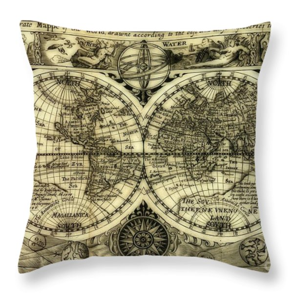 Map Of The World Antique Reproduction Throw Pillow by Inspired Nature Photography By Shelley Myke