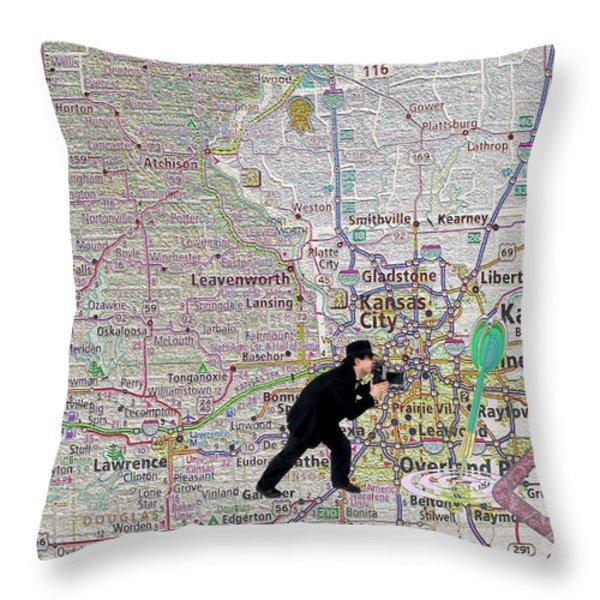 Map Overland Park Kansas Throw Pillow by Liane Wright