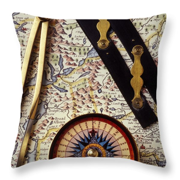Map With Compass Tools Throw Pillow by Garry Gay