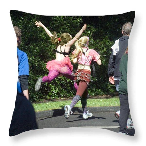 Marathon Grand Jete  Throw Pillow by Daniel Furon