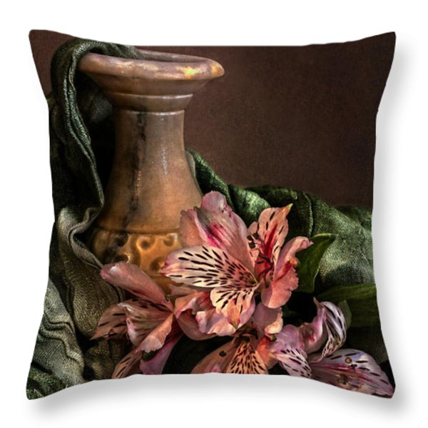 Marble vase with lilies Throw Pillow by Hugo Bussen