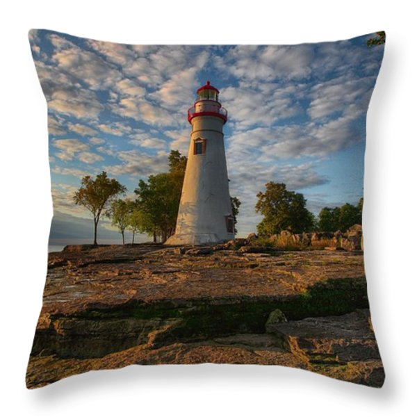 Marblehead Lighthouse Throw Pillow by Daniel Behm