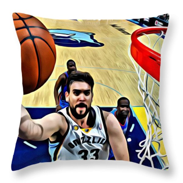 Marc Gasol Throw Pillow by Florian Rodarte