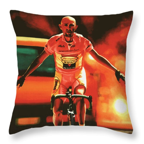 Marco Pantani Throw Pillow by Paul Meijering