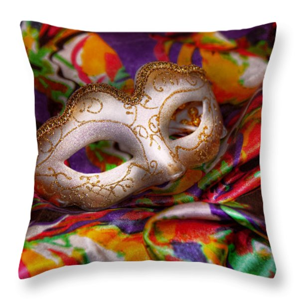 Mardi Gras - Celebrating Mardi Gras  Throw Pillow by Mike Savad
