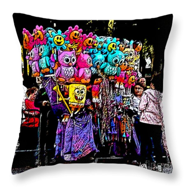 Mardi Gras Vendor's Cart Throw Pillow by Marian Bell