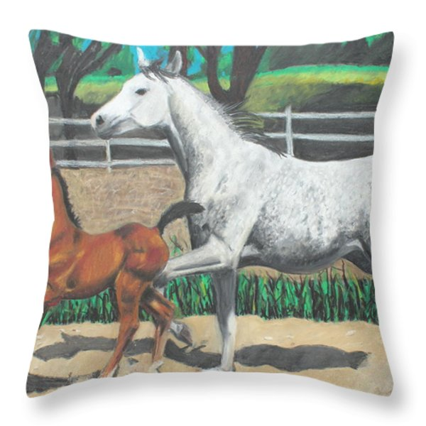 Mare And Colt Throw Pillow by Jeanne Fischer