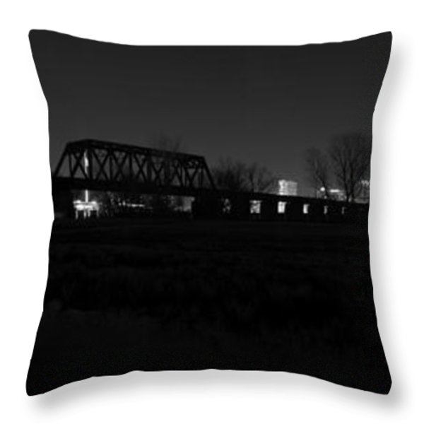 Margaret Hunt Hill Bridge Dallas Skyline Black And White Throw Pillow by Jonathan Davison