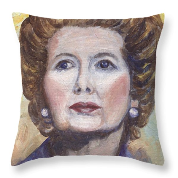 Margaret Thatcher Two Throw Pillow by Linda Mears