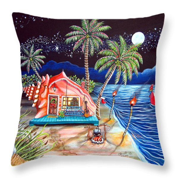Margaritaville Conch Christmas Throw Pillow by Abigail White