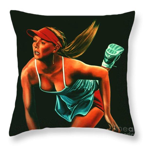 Maria Sharapova  Throw Pillow by Paul  Meijering