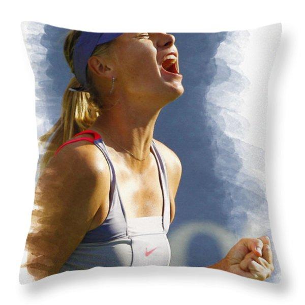 Maria Sharapova - Us Open 2011 Throw Pillow by Don Kuing