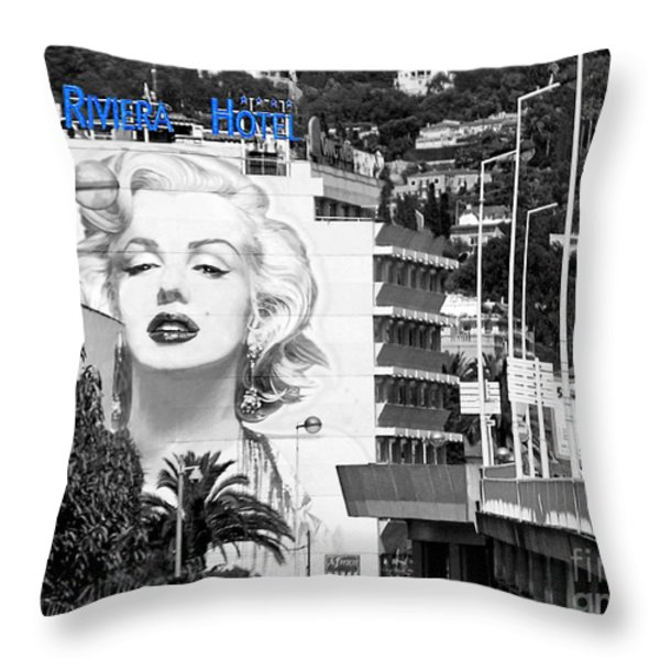Marilyn In Cannes Throw Pillow by Jennie Breeze